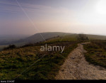 Early morning in the South Downs National Park, Sussex, England, UK, taken from the summit of Ditchling Beacon