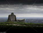 Dark clouds at the summit of Devil's Dyke in the South Downs National Park, near Brighton, Sussex, UK, overlooking the Weald