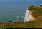 Beachy Head and lighthouse: cross at one of the most notorious suicide spots in the world